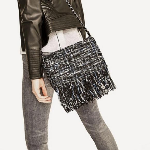 Zara Handbags - Zara tweed fringe bag